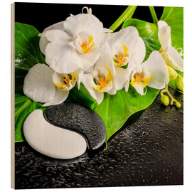Obraz na drewnie  Spa arrangement with white orchid