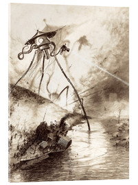 Obraz na szkle akrylowym  Martian Fighting Machine in the Thames Valley - Henrique Alvim Correa