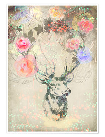 Plakat Deer in roses
