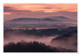 Plakat mountains and fog