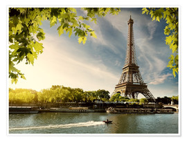 Plakat Eiffel tower on the river Seine, France