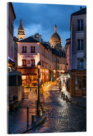 Obraz na szkle akrylowym  Street in Montmartre with Basilica of Sacre Coeur, Paris, France - Jan Christopher Becke