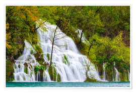 Plakat Spring at the waterfalls of Plitvice