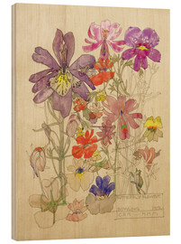 Obraz na drewnie  Butterfly Flower, Bowling - Charles Rennie Mackintosh