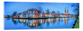 Obraz na szkle akrylowym  Panoramic of Lubeck reflected in river Trave, Germany - Roberto Sysa Moiola