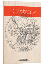Obraz na drewnie  Duisburg map circle - campus graphics