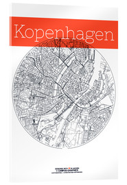 Obraz na szkle akrylowym  Copenhagen map city black and white - campus graphics