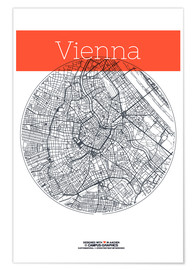 Plakat  Vienna Map County - campus graphics