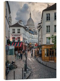 Obraz na drewnie  Streets of Montmartre and Sacre Coeur - Jan Christopher Becke