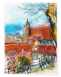 Plakat Pirna, View to the Church of St. Mary