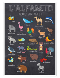 Plakat  Alphabet of Animals (Italian) - Kidz Collection