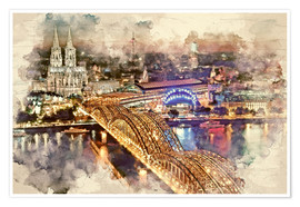 Plakat Cologne Skyline Cologne Cathedral