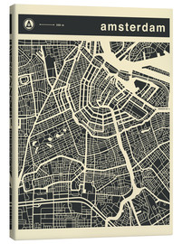 Obraz na płótnie  AMSTERDAM CITY MAP - Jazzberry Blue