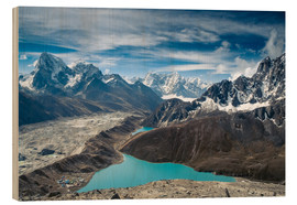 Obraz na drewnie  Mountains with lake in the Himalayas, Nepal