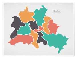 Plakat  Berlin city map modern abstract with round shapes - Ingo Menhard