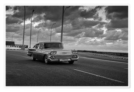 Plakat  Classic Cuban Car in black and white - Alex Saberi