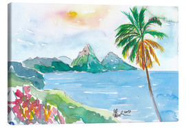 Obraz na płótnie  St Lucia Caribbean Dreams With Sunset and Pitons Peaks - M. Bleichner