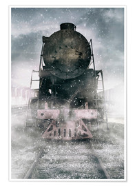 Plakat Steam train at the snowing day