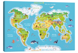 Obraz na płótnie  World map with animals - Kidz Collection