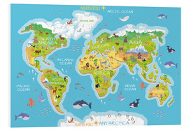 Obraz na PCV  World map with animals - Kidz Collection
