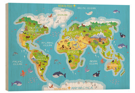 Obraz na drewnie  World map with animals - Kidz Collection