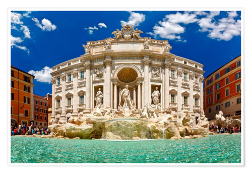 Plakat Trevi Fountain or Fontana di Trevi in ??summer