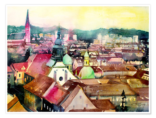 Plakat Graz, view to the cathedral
