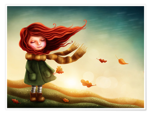 Plakat Girl in the autumn wind