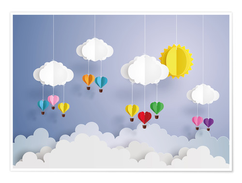 Plakat Balloon ride in the clouds