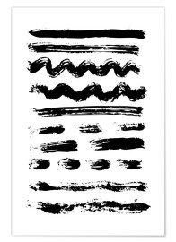 Plakat Brush strokes black and white