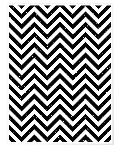 Plakat Herringbone pattern black and white