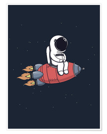 Plakat Little astronaut with rocket