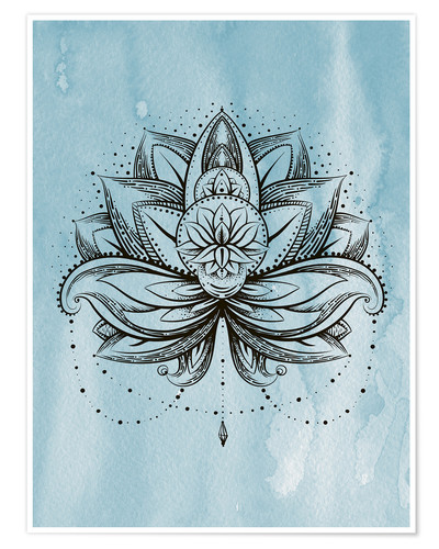 Plakat Lotus Zen watercolor