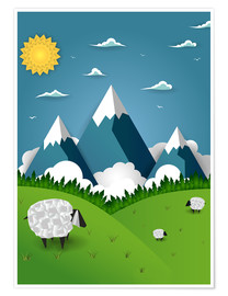 Plakat Paper landscape with sheep