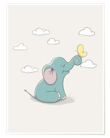 Plakat Little Elephant with Butterfly
