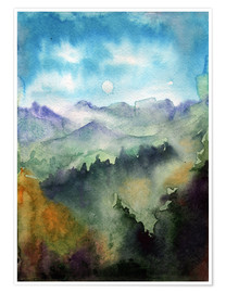 Plakat Mountain panorama watercolour