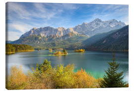 Obraz na płótnie  Autumn at the Eibsee with a view to the Zugspitze - Michael Valjak