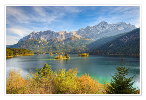 Plakat Autumn at the Eibsee with a view to the Zugspitze