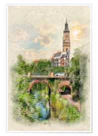 Plakat Leipzig, Karl Heine Canal, King Albert Bridge