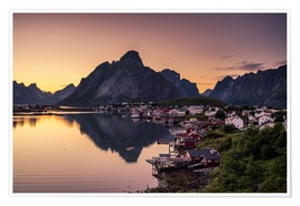Plakat Sunset in Reine, Lofoten, Norway