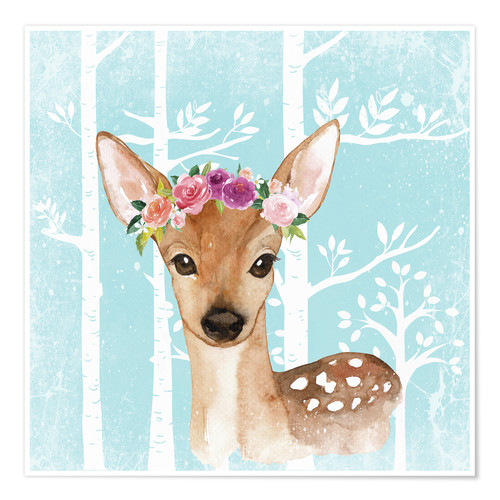 Plakat Glamorous fawn with blossoms in the blue forest