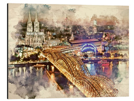 Obraz na aluminium  Cologne Skyline Cologne Cathedral - Peter Roder