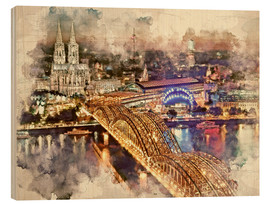 Obraz na drewnie  Cologne Skyline Cologne Cathedral - Peter Roder
