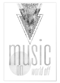 Plakat GRAPHIC ART SILVER Music on World Off