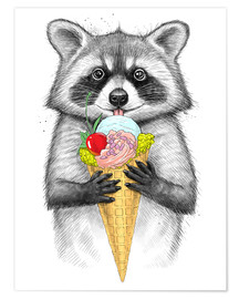 Plakat Raccoon with ice cream