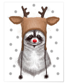 Plakat Raccoon in Deer Hat