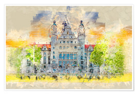 Plakat Leipzig New Town Hall