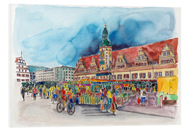 Obraz na PCV  Leipzig Weekly market in front of the Old Town Hall - Hartmut Buse