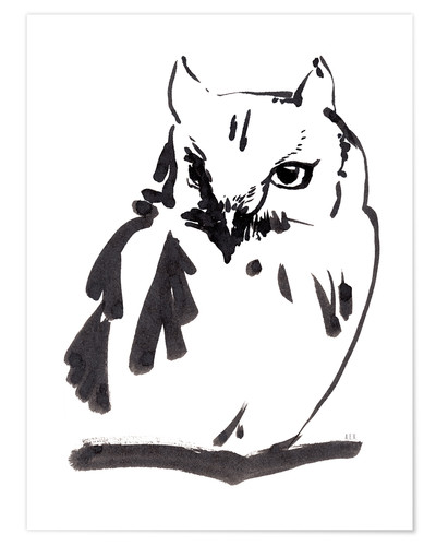 Plakat Owl ink drawing