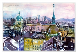 Plakat Vienna, view to the Karls church